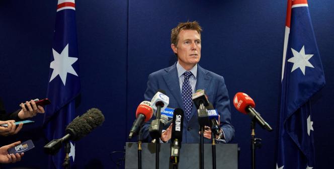 le ministre australien de la justice, Christian Porter, le 3 mars 2021 à Perth.