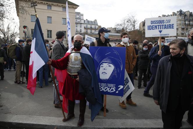 Manifestation contre la dissolution du mouvement Génération identitaire à Paris, le 20 février.