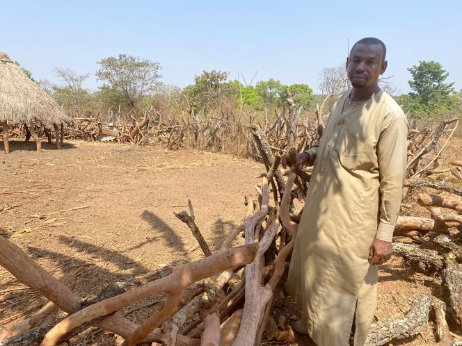 Dans son hameau déserté de Marlok, dans la région de l'Adamaoua (nord du Cameroun), Alfaki Abdoullahi devant l'un des enclos où paissaient ses nombreux boeufs et moutons qu'il élevait depuis plus de trente ans, en janvier 2021.