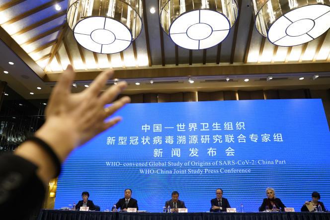 Conférence de presse de l'OMS à la fin de la mission de l'OMS à Wuhan, le 9 février 2021.