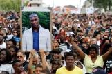 Manifestation après la mort d'Adama Traoré, àBeaumont-sur-Oise (Val-d'Oise), le 21juin2018.