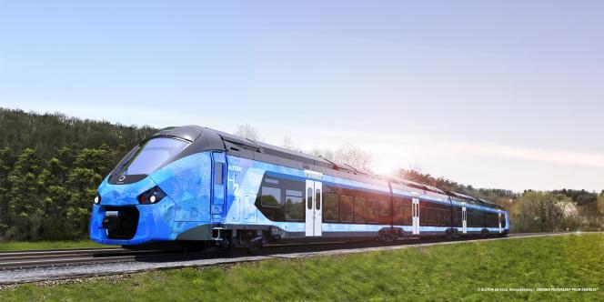 Image numérique du futur train régional à hydrogène conçu par Alstom, qui circulera dans l'Yonne.