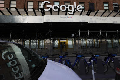 NEW YORK, NEW YORK - JANUARY 25: The Manhattan Google headquarters is seen on January 25, 2021 in New York City. Google announced today that it will be opening up select Google facilities to serve as mass vaccination sites open to anyone eligible to receive the coronavirus (COVID-19) vaccine. They will also commit to using more than $150 million dollars to promote vaccine education. Michael M. Santiago/Getty Images/AFP (Photo by Michael M. Santiago / GETTY IMAGES NORTH AMERICA / Getty Images via AFP)