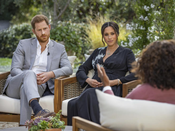 Lors de l'entretien accordé par le prince Harry et Meghan Markle àOprah Winfrey, le 16 février 2021.