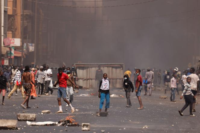 Manifestation en soutien à l'opposant Ousmane Sonko, à Dakar, le 5 mars.