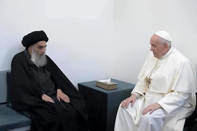 L'ayatollah Ali Al-Sistani et le pape François, le 6 mars 2021, à Nadjaf.