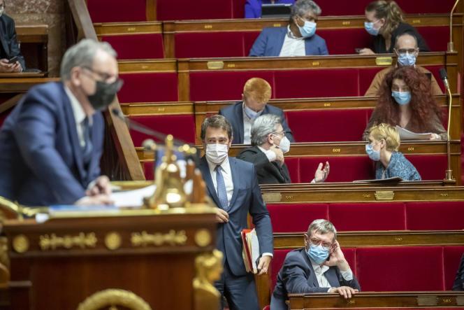 Christophe Castaner, président du groupe des députés La République en marche, lors de la séance de questions au gouvernement à l'Assemblée nationale à Paris, mardi 2 mars.