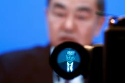 Pendant la conférence de presse de Wang Yi, ministre chinois des affaires étrangères, le 7 mars à Pékin.
