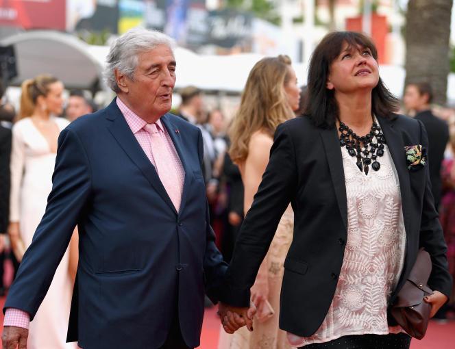 Jean-Loup Dabadie et son épouse Véronique Bachet, au Festival de Cannes, le 18 mai 2017.