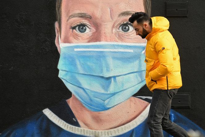 Une peinture murale, à Manchester, le 5 janvier 2021.