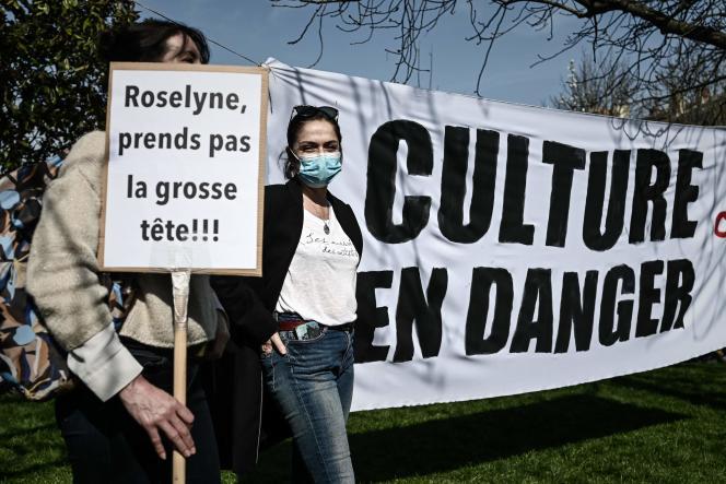 Manifestation contre la fermeture des établissements culturels, à Bordeaux, le 4 mars 2021.