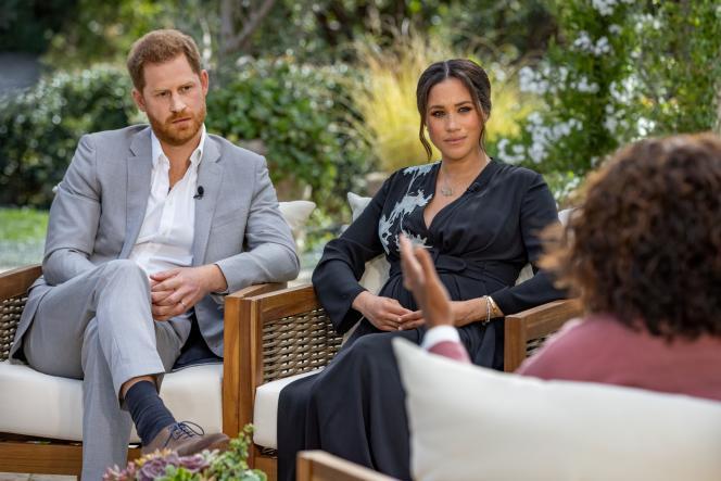 Le prince Harry et Meghan, duchesse de Sussex, lors de leur entretien avec Oprah Winfrey, le 16 février, diffusé le 7 mars sur CBS.