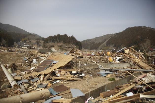 Dans la ville de Rikuzentakata, le 20 mars 2011.