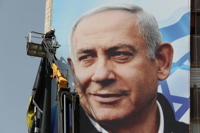 Une affiche de campagne de Benyamin Nétanyahou aux élections législatives du 23 mars 2021, installée à Jérusalem le 10 mars.