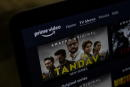 A poster of Tandav, a web series is seen on Amazon Prime Video streaming service website in this illustration picture taken March 5, 2021. REUTERS/Danish Siddiqui/Illustration