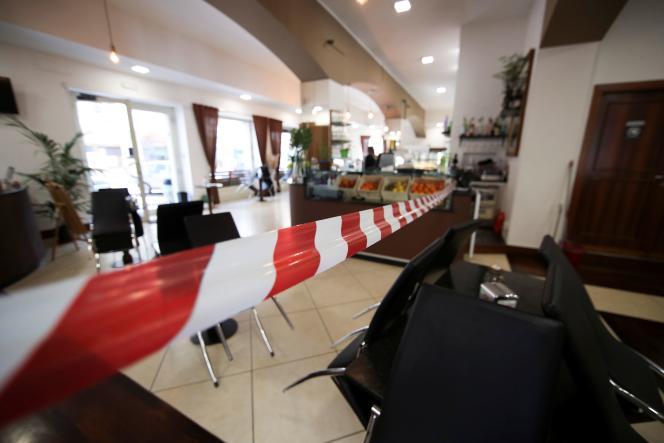 Un bar fermé à Frosinone (Italie), le 11 mars 2021.