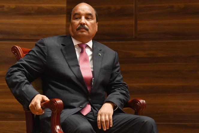 L'ancienprésident de la Mauritanie, Mohamed Ould Abdel Aziz, lors de la cérémonie de prestation de serment de son successeur à Nouakchott, le 1er août 2019.