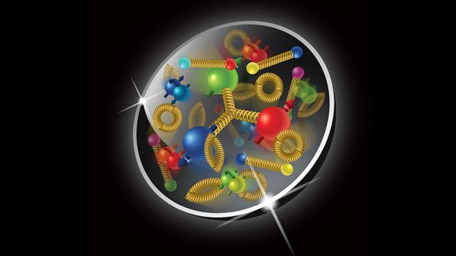 Vue d'artiste d'un proton, avec ses quarks, ses antiquarks et ses gluons.