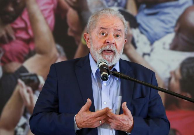 Der frühere brasilianische Präsident Lula am 10. März 2021 in Sao Bernardo do Campo bei Sao Paulo.