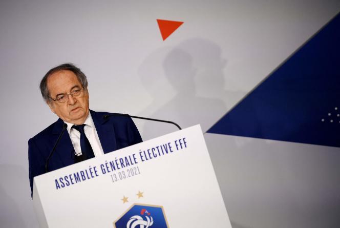 Noël Le Graët a été réélu président de la Fédération française de football (FFF) avec 73,02% des suffrages, à Paris, le 13 mars.
