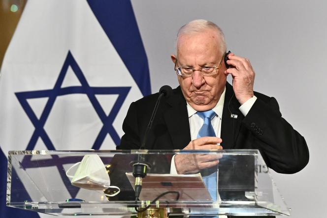 Le président israélien Reuven Rivlin, lors d'une conférence de presse, le 17mars. Israël, pionnier de la vaccination anti-Covid, fait l'objet d'une opération juridique aussi médiatique que fragile.