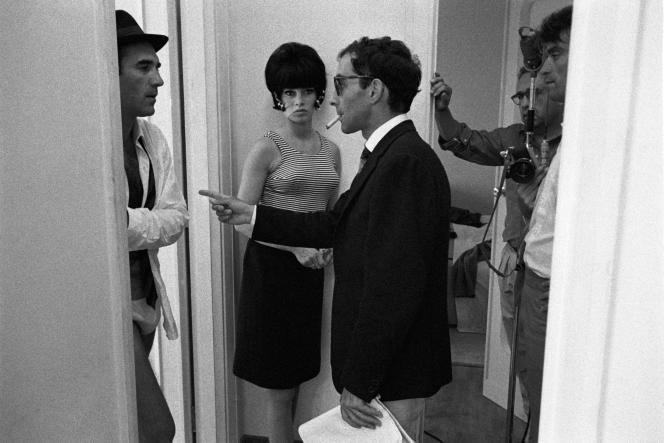Le réalisateur Jean-Luc Godard et les acteurs Brigitte Bardot et Michel Piccoli, sur le tournage du« Mépris», en 1963.
