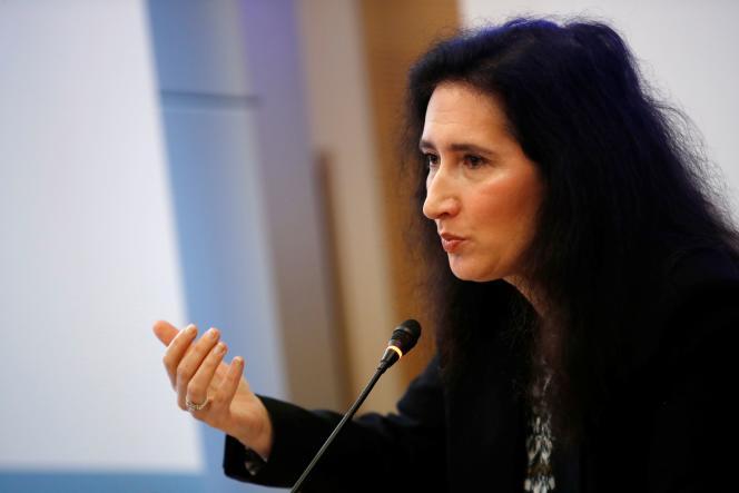Isabelle de Silva, présidente de l'Autorité de la concurrence, durant une conférence de presse à Paris, le 17 mars.