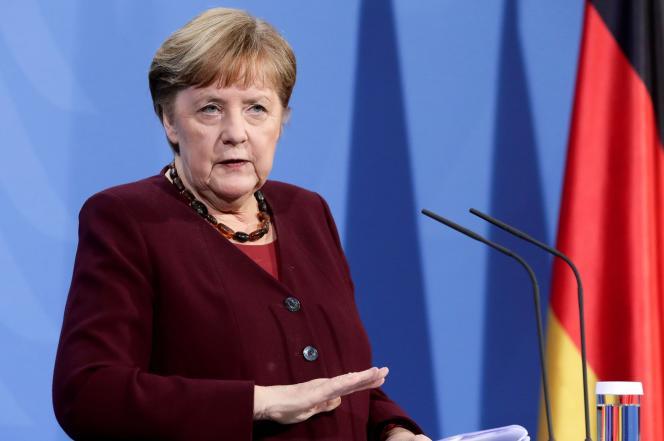 La chancelière allemande, Angela Merkel, lors d'une conférence de presse, à Berlin, le 19mars.