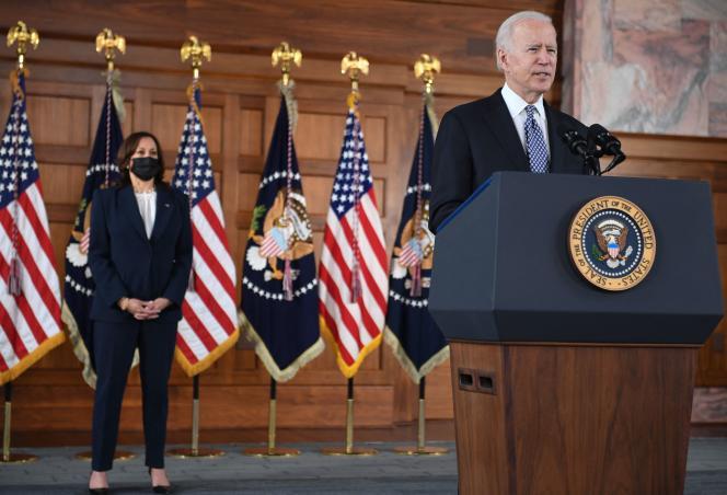 Le président américain Joe Biden et la vice-présidente Kamala Harris, à l'Université Emory d'Atlanta, en Géorgie, le 19mars.