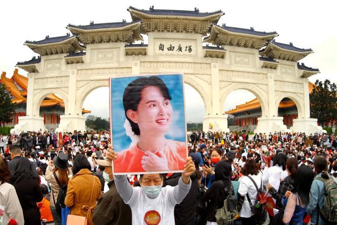 Lors d'une manifestation à Taipei, en Birmanie, le 21mars.
