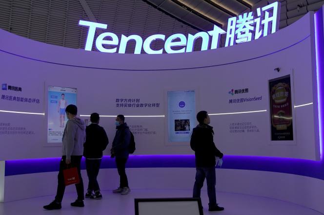 Logo de Tencent, un des fleurons numériqueschinois, lors de laconférence mondiale de l'Internet, à Wuzhen, dans l'est du pays,le 23 novembre 2020.
