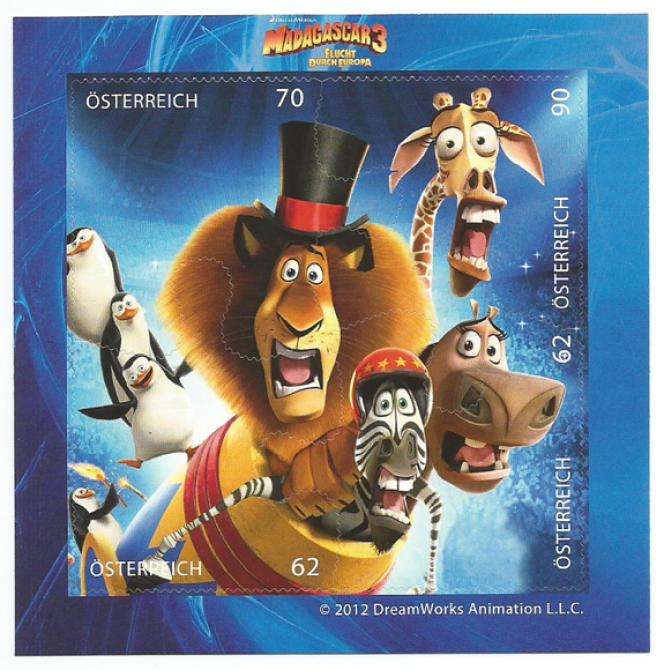 Bloc-feuillet émis par l'Autriche en 2012 sur le thème du film d'animation«Madagascar», avec dentelures en forme de puzzle.