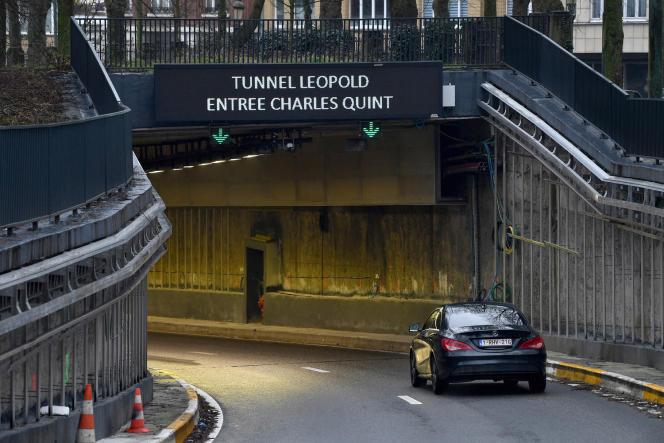 L'entrée du tunnel Leopold-II, à Bruxelles.