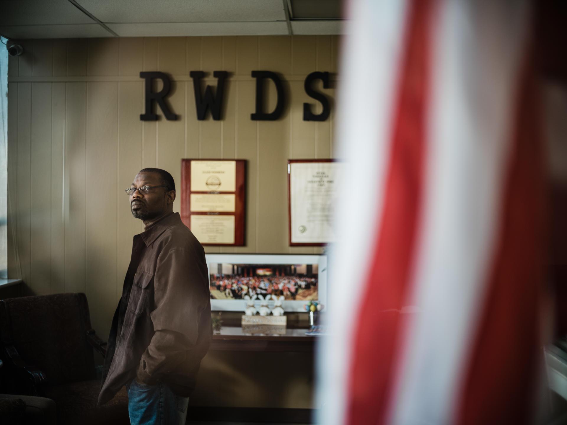 Darryl Richardson, dans les locaux du syndicat du commerce RWDSU, le 20 mars 2021, à Birmingham, Alabama.