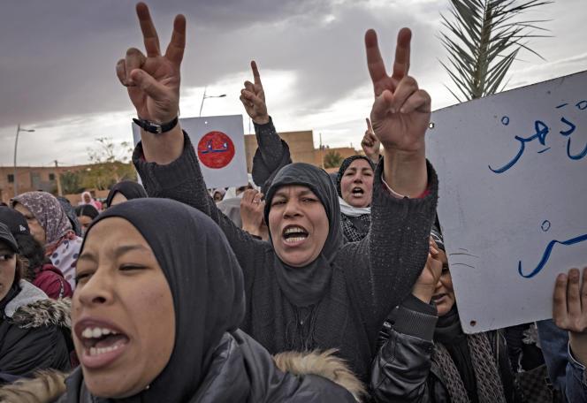 Les agriculteurs marocains manifestent à Figuig le 18 mars 2021.