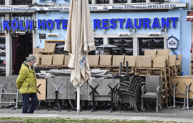 A Cologne (Allemagne), le 18 mars 2021. Les bars et restaurants sont fermés depuis le 28 octobre 2020 dans tout le pays.