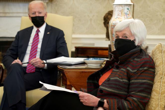 Le 29 janvier, le président Joe Biden et la secrétaire américaine au Trésor Janet Yellen à la Maison Blanche à Washington.