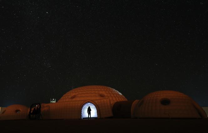 Une habitation «martienne», lors de la mission de simulation de vie sur Mars Amadee-18, dans le désert du Dhofar, à Oman,en février 2018.