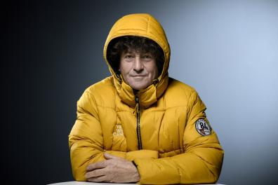 """French skipper Jean Le Cam poses during a photo session in Paris on February 15, 2021. - The scenario of the Vendee Globe was """"a crazy thing"""", said navigator Jean Le Cam in an interview with AFP, having reached the foot of the podium in the race around the world after a spectacular rescue of his competitor Kevin Escoffier. (Photo by FRANCK FIFE / AFP)"""