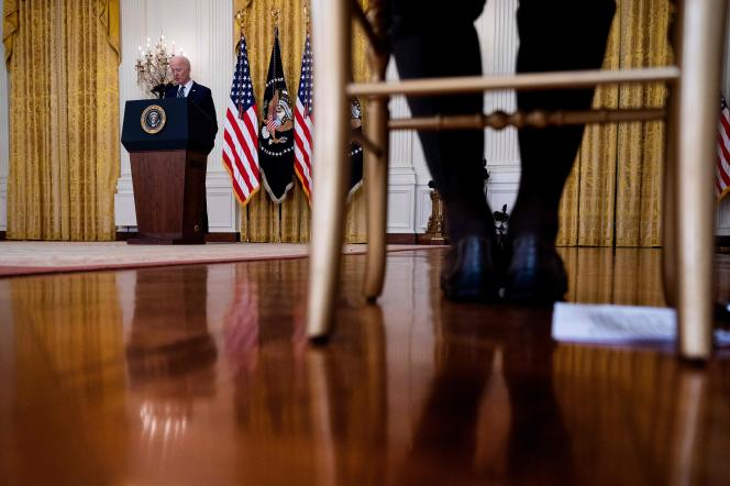 Le président américain Joe Biden lors de sa première conférence de presse le 25 mars à la Maison Blanche, à Washington D.C.
