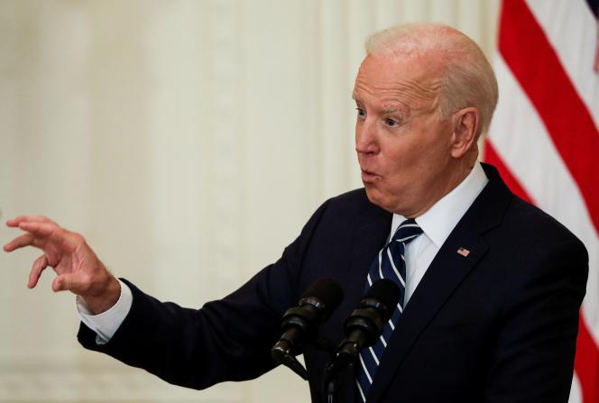 Joe Biden lors de sa conférence de presse à la Maison Blanche. Le même jour il est intervenu par visioconférence à la Commission européenne. Washington, le 25 mars 2021.