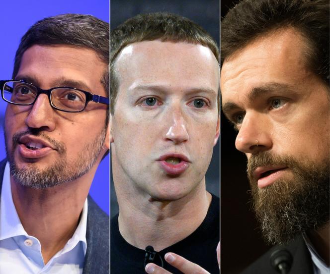Les patrons d'Alphabet (maison mère de Google), Sundar Pichai, de Facebook, Mark Zuckerberg, et de Twitter, Jack Dorsey, ont répondu aux questions des élus du Congrès des Etats-Unis, jeudi 25 mars.