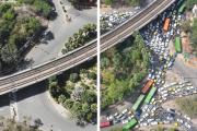 Comparaison de la circulation entre le confinement (à gauche) et une période normale (à droite), à New Delhi, en Inde.