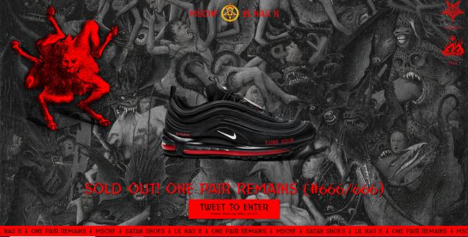 Capture d'écran du site de vente en ligne des Satan Shoes de MSCHF et Lil Nas X.
