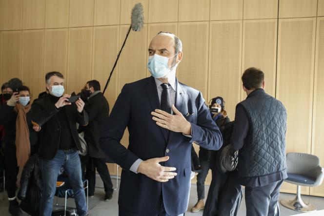Edouard Philippe, maire du Havre (Seine-Maritime), à une réunion de travail sur l'Axe Seine le 11 février.