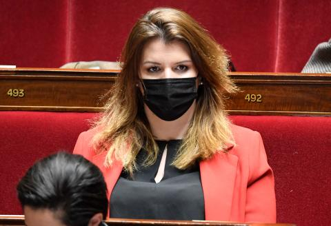 French Junior Minister of Citizenship Marlene Schiappa attends a session of questions to the government at the National Assembly in Paris on March 30, 2021. / AFP / Bertrand GUAY