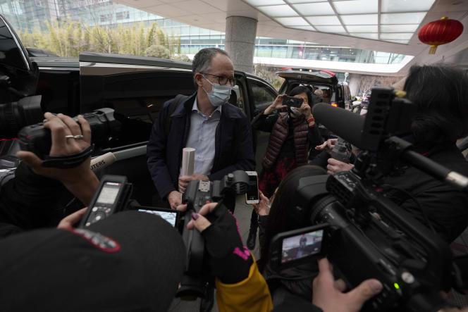 Peter Ben Embarek, de l'OMS, à la fin de la mission d'enquête sur les origines de la pandémie, à Wuhan (Chine), le 10 février.