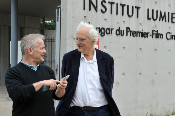 Thierry Frémaux,directeur de l'Institut Lumière de Lyon et délégué général du Festival de Cannes, et le cinéaste Bertrand Tavernier, en 2016, à Lyon.
