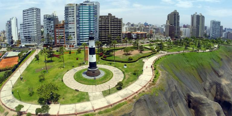 Aerial view of the lighthouse in the Miraflores neighborhood in Lima, on December 4, 2014, where the UN COP20 and CMP10 (20th session of the Conference of the Parties and the 10th session of the Conference of the Parties, serving as the Meeting of the Parties to the Kyoto Protocol) are being held until December 12.  AFP PHOTO / MARTIN BERNETTI (Photo by MARTIN BERNETTI / AFP)