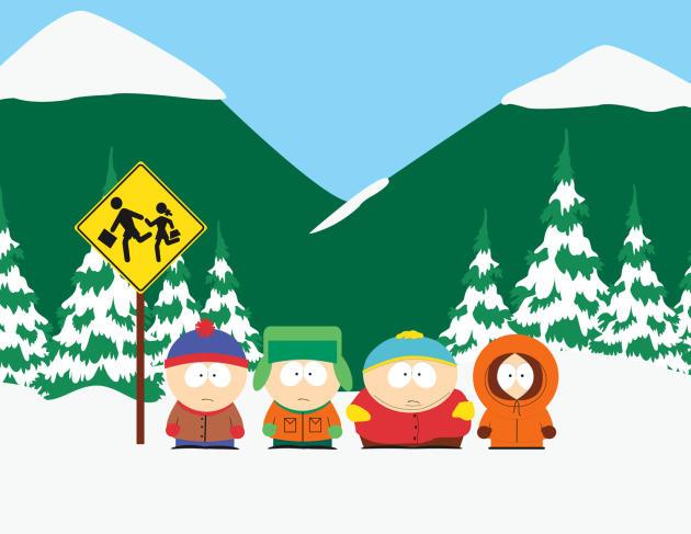 De gauche à droite, Stan Marsh, Kyle Broflovski, Eric Cartman et Kenny McCormick, la célèbre bande de la série« South Park».